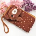 Bag for holding mobile phone., Cloth, brown, 13.5cm x 8cm, 1  piece, (SB178)